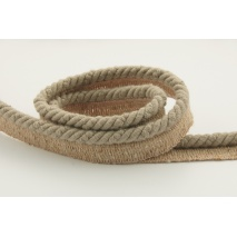 Dark beige 6mm Cotton Cord with ribbon
