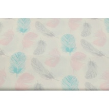 Bawełna 100% turkusowo - szaro - różowe piórka na białym tle