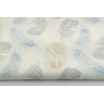 Cotton 100% blue-gray-beige feathers on a white background
