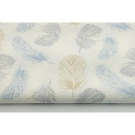 Bawełna 100% niebiesko - szaro - beżowe piórka na białym tle