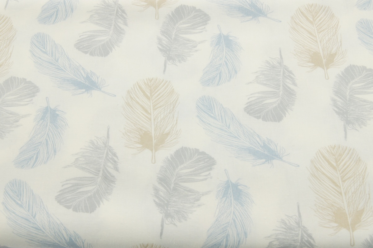 Cotton 100 Blue Gray Beige Feathers On A White Background