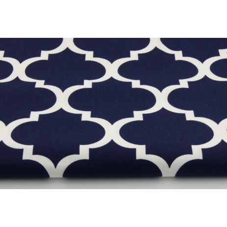 Cotton 100% moroccan trellis on a navy background
