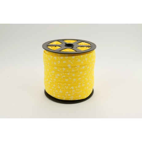 Cotton bias binding white meadow on a yellow background 18mm