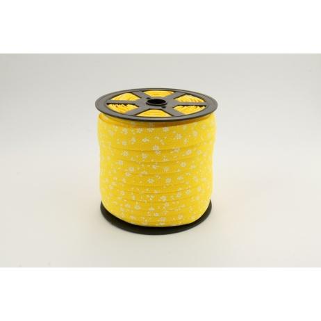 Lamówka bawełniana biała łączka na żółtym tle