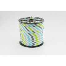 Cotton bias binding gray, turquoise and lime stripes