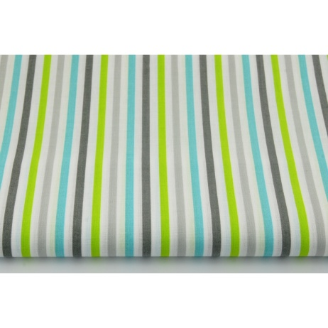 Cotton 100% gray-turquoise-lime stripes