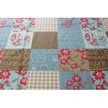 Bawełna 100%, patchwork XL niebiesko-beżowy