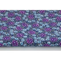 Bawełna 100%, fuksjowe, niebieskie kwiatki na granatowym tle