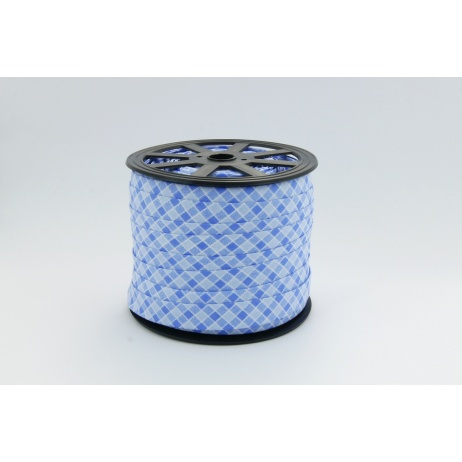 Lamówka bawełniana niebieska kratka o szerokości 5mm
