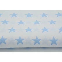 Cotton 100% blue stars 25mm on a white background