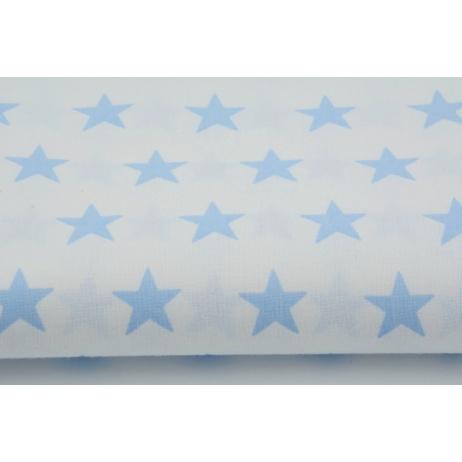 Bawełna 100% biała w niebieskie gwiazdki 2,5cm
