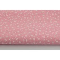 Bawełna 100% biała łączka na różowym tle, drobne kwiatki