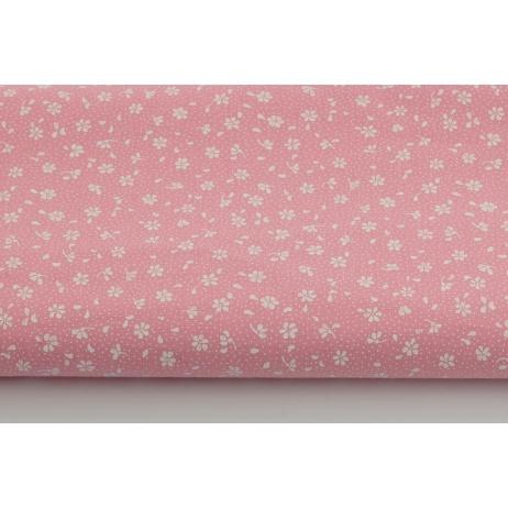 Bawełna 100% łączka na różowym tle, drobne kwiatki