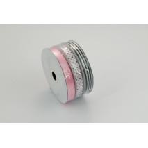 Zestaw atłasowych tasiemek różowo-czarny 3x5m
