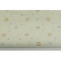 Bawełna 100%, gwiazdki karmelowe, niebieskie na jasnym miętowym tle