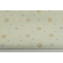 Cotton 100% caramel, blue stars on a light mint background