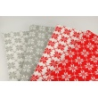 Bawełna 100% białe śnieżynki na czerwonym tle