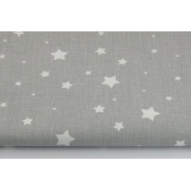 Cotton 100% white tiny stars on a gray background