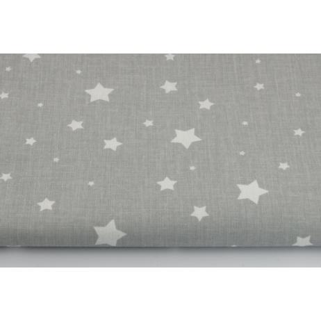 Bawełna 100%, białe gwiazdy, gwiazdki na szarym tle