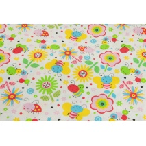 Cotton 100% bees, butterflies, ladybugs on a white background