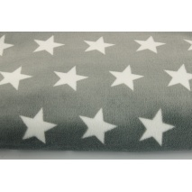Polar fleece double sided white stars on a dark gray background