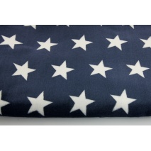 Polar fleece double sided white stars on a navy background