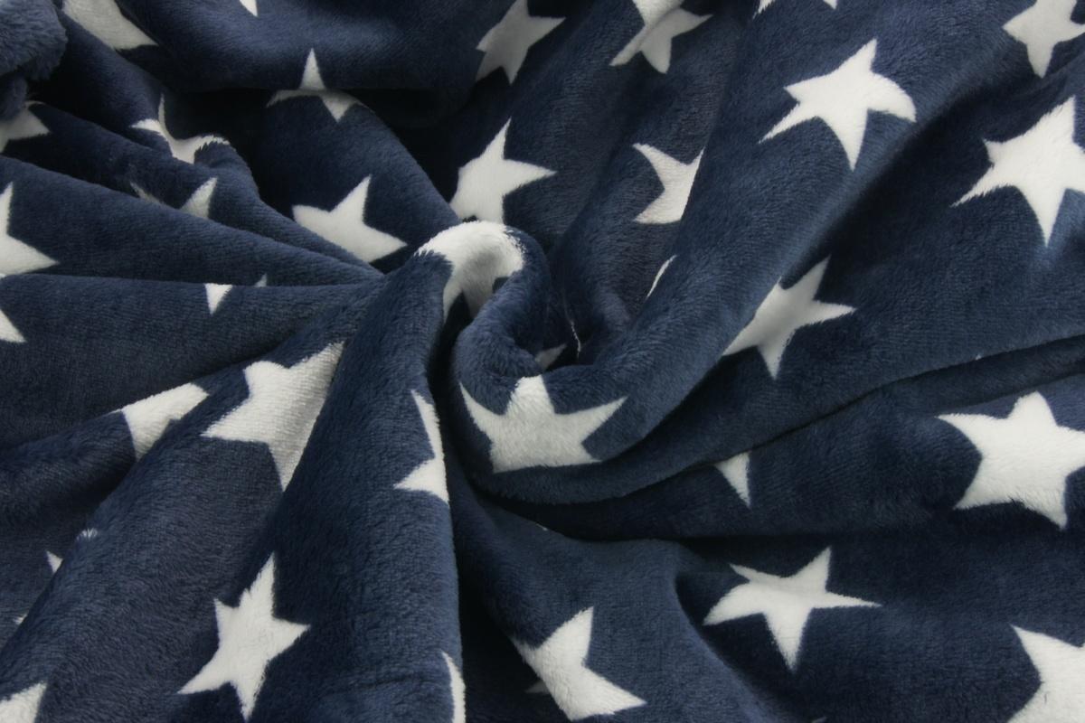 Polar Fleece Double Sided White Stars On A Navy Background