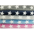 Polar fleece double sided white stars on a gray background
