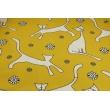 Bawełna 100% koty na musztardowym tle