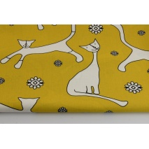 Cotton 100% cats on a mustard background