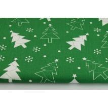 Bawełna 100%, świąteczne choinki na ciemnozielonym tle