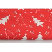 Bawełna 100%, świąteczne choinki na czerwonym tle