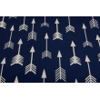Cotton 100% white arrows on a navy background