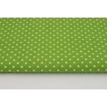 Bawełna 100% kropki białe 2mm na zielonym tle S