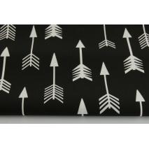 Bawełna 100% białe strzałki na czarnym tle