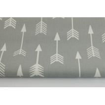Bawełna 100% białe strzałki na jasnoszarym tle