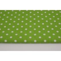 Bawełna 100% kropki białe 7mm na zielonym tle M