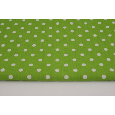 Cotton 100% polka dots 7mm on a green background