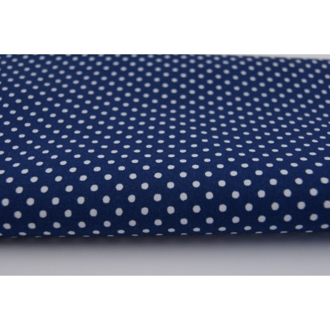 Cotton 100% polka dots 2mm on a navy blue background