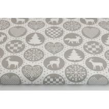 Cotton 100% gray Christmas pattern in circles on a white background