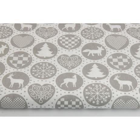Bawełna 100% świąteczny wzór w kółkach szary na białym tle