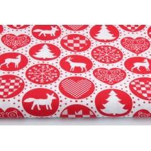 Bawełna 100% świąteczny wzór w kółkach czerwony na białym tle