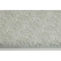 Bawełna 100% biała koronka na szarym tle