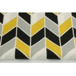 Cotton 100% geometric zigzag mustard and black