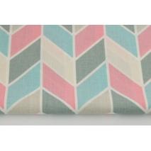 Bawełna 100% zygzak geometryczny różowo-turkusowy