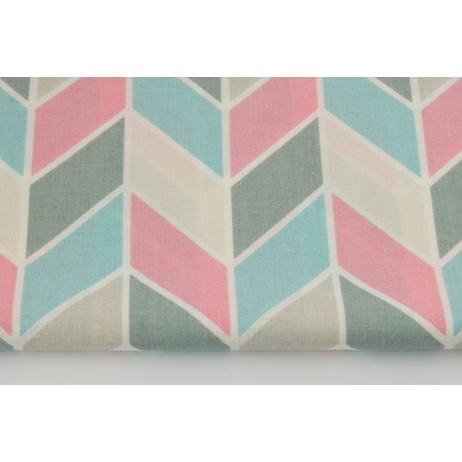 Cotton 100% geometric zigzag pink-mint-beige