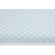 Bawełna 100% białe kropki 7mm na błękitnym tle L