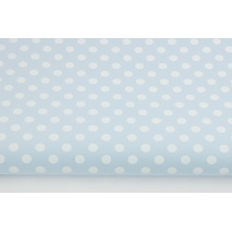 Cotton 100% white dots 7mm on a light blue background