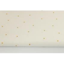 Bawełna 100% biała w złote kropki 4mm