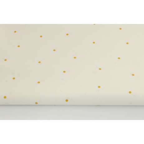 Cotton 100% gold dots 4mm on a white background